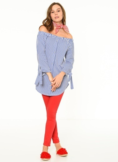 Fashion Friends Kayık Yaka Çizgili Bluz Mavi